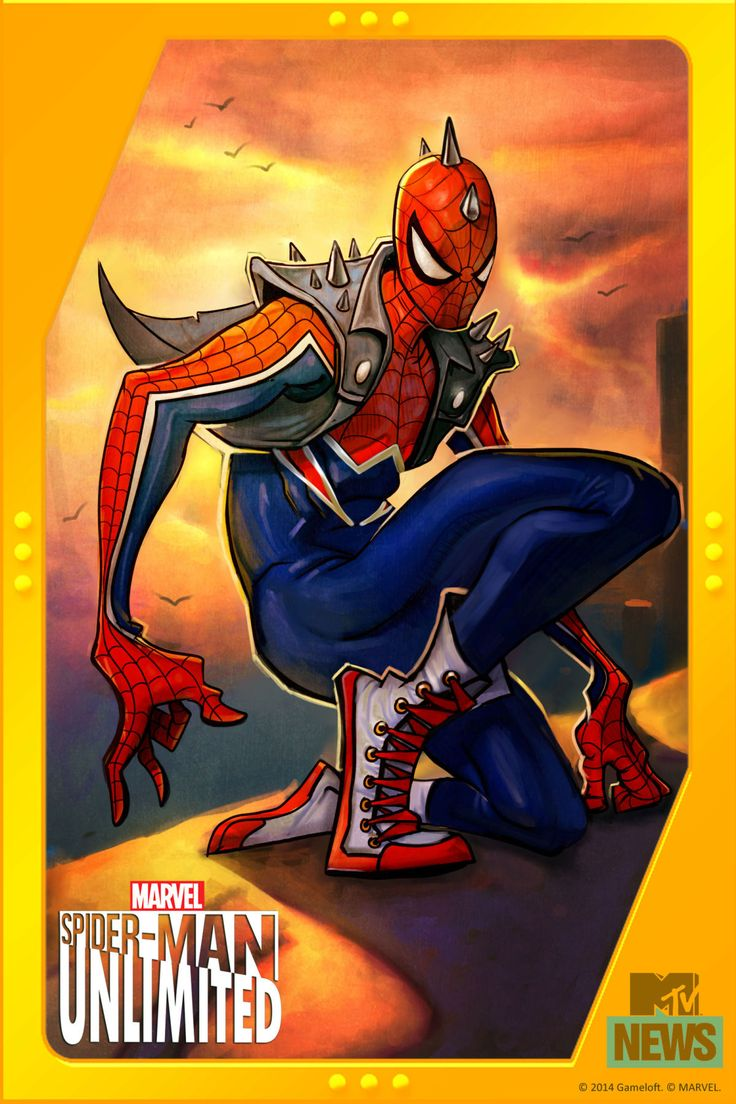#Spiderman #Fan #Art. (Spider-Man Unlimited Cover of Spider-Punk!) By: Mark Brooks. Also a new game out By: Gameloft. ÅWESOMENESS!!!.