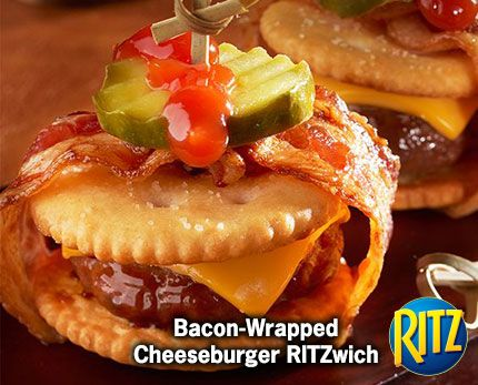 30 mins to make,serves 12 -- INGREDIENTS -- MEAT • 12 Bacon, fully cooked slices • 1/2 lb Ground beef, lean CONDIMENTS • 12 Dill pickle chips • 1 tbsp Ketchup SNACKS • 24 Ritz crackers DAIRY • 2 American cheese slices, each cut into 6 pieces