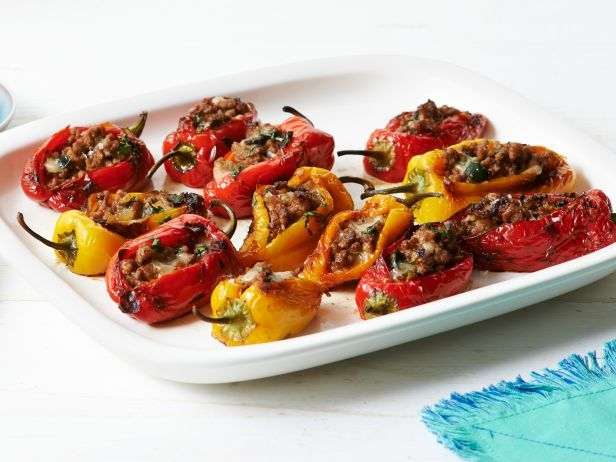 Stuffed Baby Bell Peppers from #FNMagFood Network, Keys Ingredients, Peppers Recipe, Bell Peppers, Ground Pork, Foodnetwork, Stuffed Baby Belle Peppers, Stuffed Peppers, Peppers Appetizers