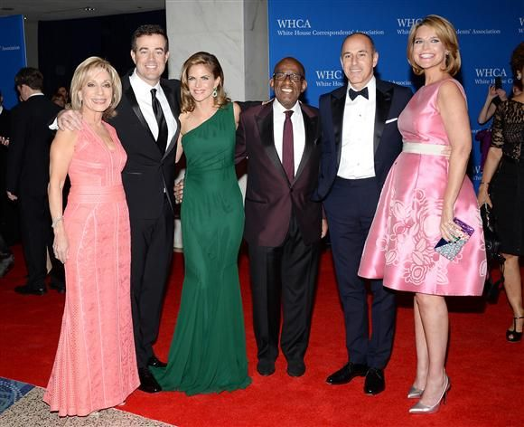 "NBC ""Today"" show hosts Andrea Mitchell, Carson Daly, Natalie Morales, Al Roker, Matt Lauer and Savannah Guthrie attend the White House Correspondents' Association Dinner on May 3, 2014."