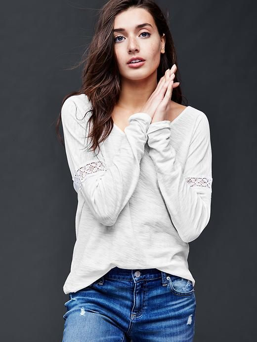 Long sleeve lace-trim top