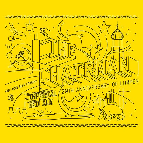 The Chairman beer label illustrated by Michael Freimuth.