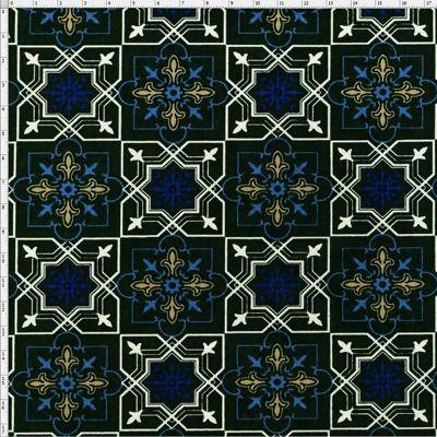 Tecido Estampado para Patchwork - Azulejo Marroquino Preto T04602 (0,50x1,40)