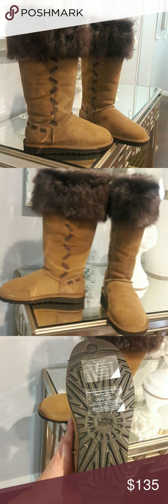 Tall UGG Boots Beautiful tall fur UGG Boots. Brand new, in perfect condition. No flaws, smoke free home. Retail price $295. No box. 100% authentic! UGG Shoes Winter & Rain Boots