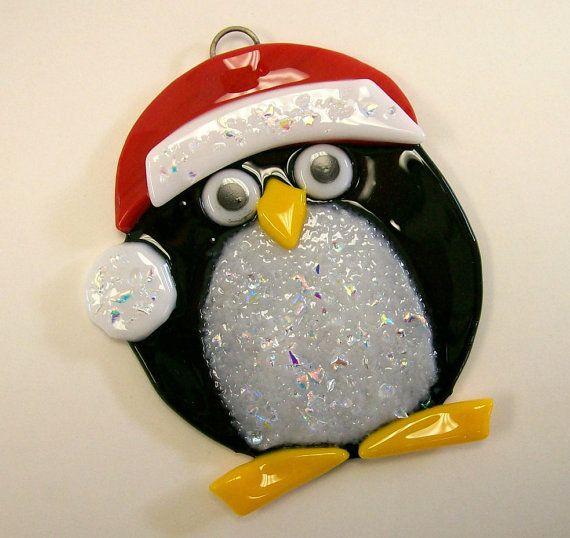 Penguin fused glass
