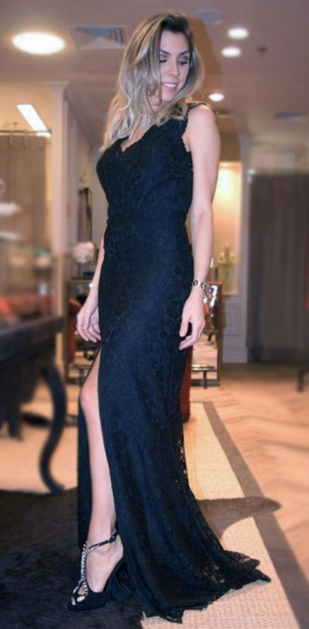 Prom Dresses,Backless Prom Dresses,Lace Prom Dresses,With Slit Evening