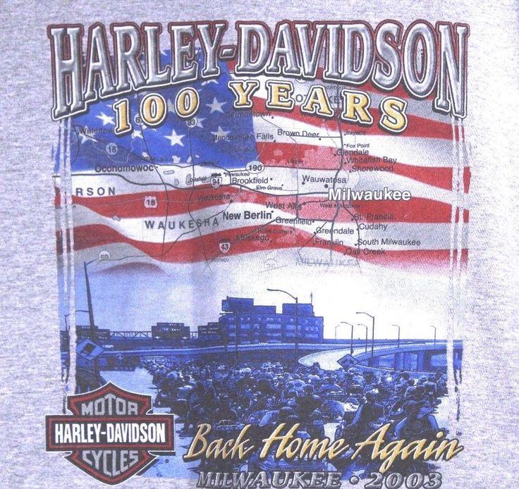 Harley Davidson Wisconsin Oconomowoc WI XL T Shirt 100 Year Anniversary Vtg 2003 #HarleyDavidson #GraphicTee
