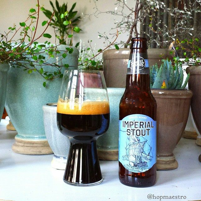 Samuel Adams Imperial Stout & the beautiful stout glass - pic by @hopmaestro. #stout #craftbeer