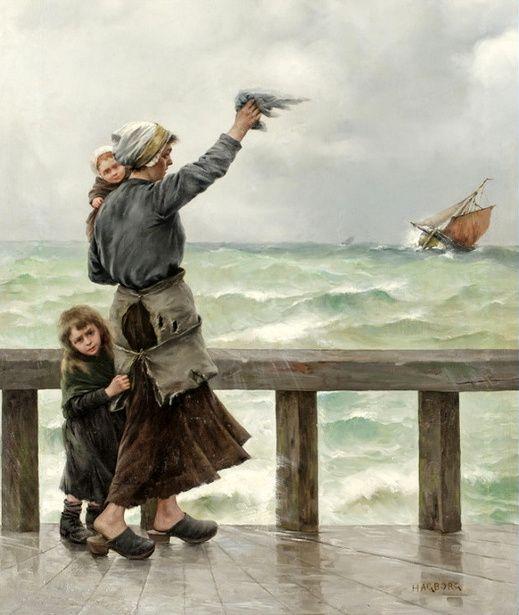 August Hagborg (1852 – 1921, Swedish) - Fisherman's Homecoming