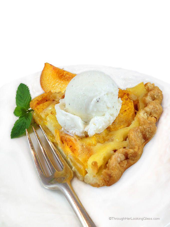 Dreamy Fresh Peach Custard Pie. Fresh peaches and cream combine for an easy, delicious and summery fruit pie.