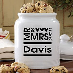 """This Mr. & Mrs. Cookie Jar is so cute! You can personalize it with the couple's name and wedding date for free! This is a great wedding gift idea or bridal shower gift - especially if you're going to a """"kitchen"""" shower where everyone brings their own recipes ... you could put your favorite cookie recipe inside! #Wedding"""