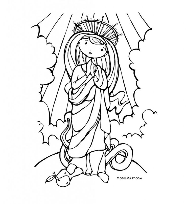 Mary Catholic Coloring Page