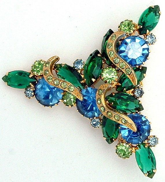 Vintage Juliana DeLizza and Elster Brooch Large Blue and Green Rhinestones & Crescent Icing