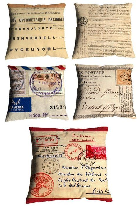 I love retro texts:  maps, postcards, old leaflets and period typefaces... the works.  These pillows are so beautiful they make me ache....