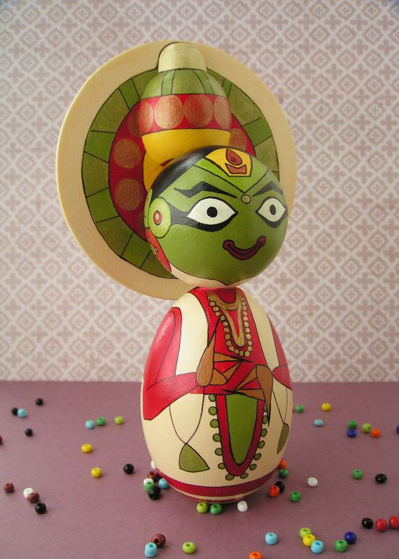 Kathakali Dancer - Handpainted Wooden Indian Classical Dance Golu Kokeshi Doll