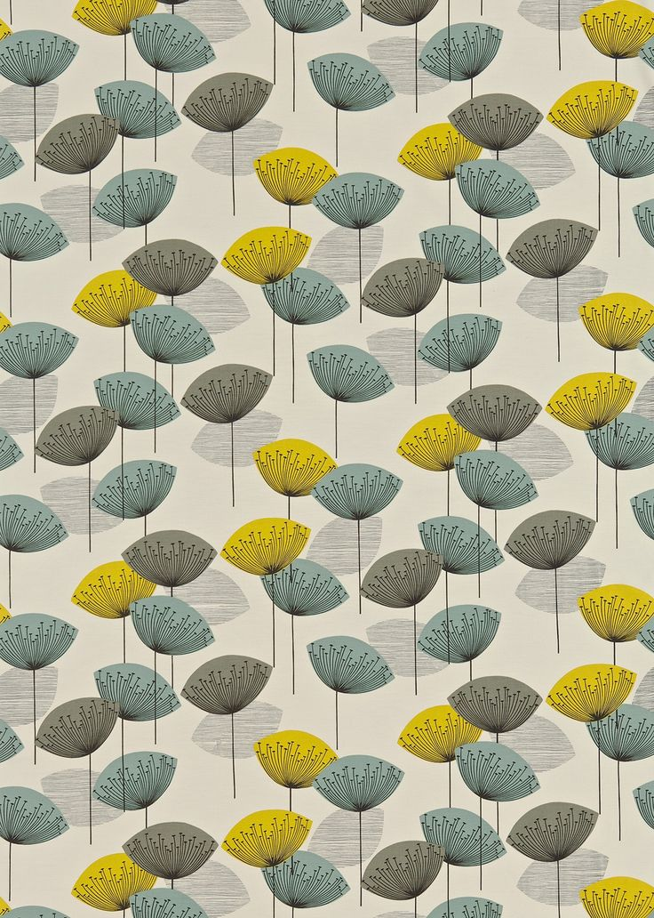 Dandelion Clocks (DOPNDA204) - Sanderson Fabrics - A fun and funky 50's retro design. Stylised dandelion heads with seeds radiating from a central point . Shown in the Chaffinch colourway. Please request sample for true colour match.
