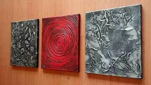 Cuadros Abstractos Tripticos Texturados Grupo Raiim - $ 400,00