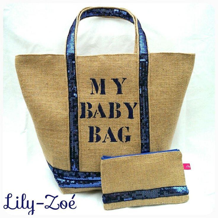 Cabas toile de jute naturelle tagué MY BABY BAG sequins bleus et pochette assortie via La Boutique de Lily-Zoé. Click on the image to see more!