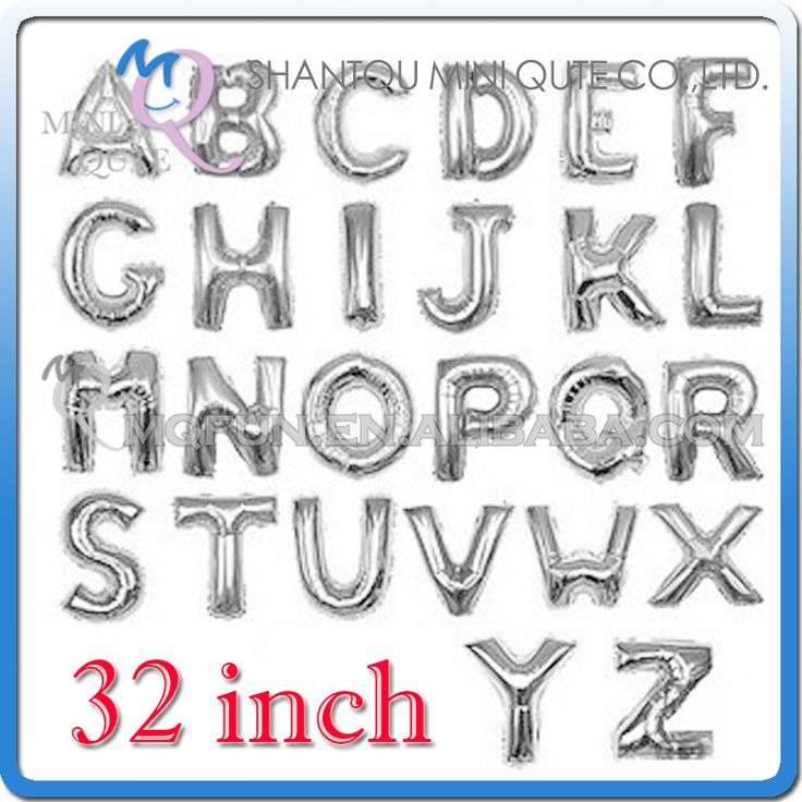 1PCS 32 inch Silver Aluminum Foil party supplies Wedding decoration English ABC A-Z letters children birthday kids air Balloon