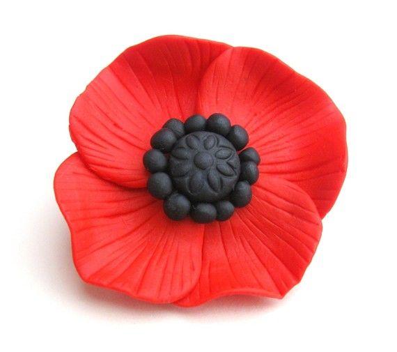 Poppy Brooch Red & Black Polymer Flower by Chameleonite on Etsy