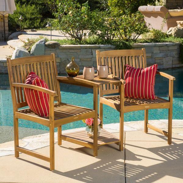 Carolina Deluxe Acacia Wood Adjoining Chairs by Christopher Knight Home by  Christopher Knight Home