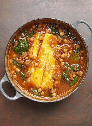 Pollock and chorizo stew recipe by Tom Kerridge.  This sounds soo flavorful, but i'm not sure my picky eaters would eat it.