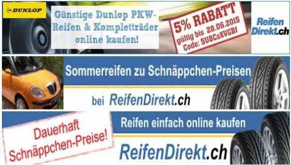 Rabatt Reifen, Schweiz. 5% Rabatt auf Dunlop PKW-Reifen und Kompletträder.