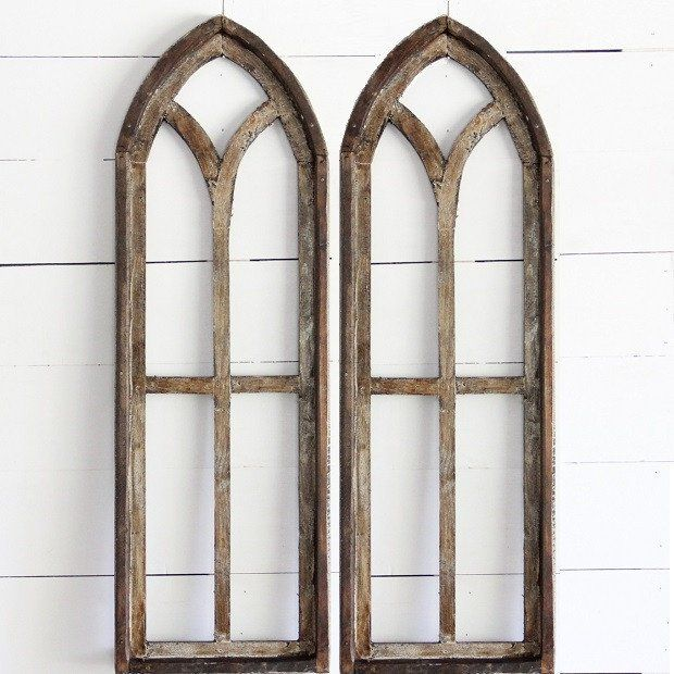Tall Arched Wooden Window Frame, Set of 2 Antique Farm House
