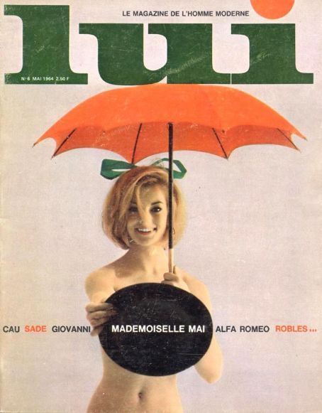 Lui Magazine, May 1964  Color Scheme - focus on backdrop being a warmer, lighter color with large text and spots of coor.