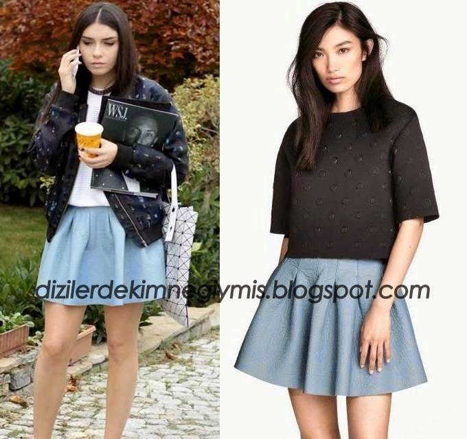 Medcezir - Eylül (Hazar Ergüçlü), H&M Blue Skirt