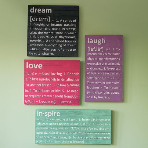 Get these at PBTeen   Pottery Barn Teen has it all!  Define your space with these bold art pieces. Crafted from planked fir, each is printed with bright white letters that cover your walls with layers of meaning.