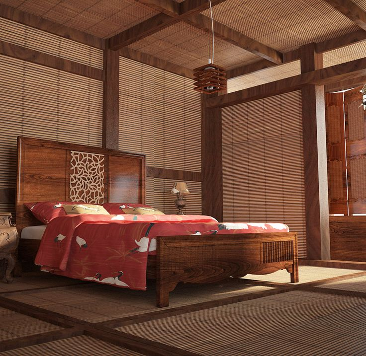Japanese bedroom beautiful rich woods strong architectural