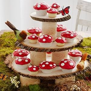 Mushroom cupcakes and stand using wood and cans