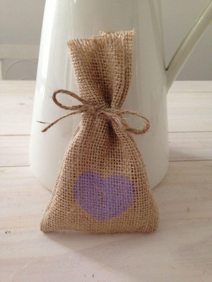 10 Purple Hessian Burlap Wedding Favor Bags Burlap Bags