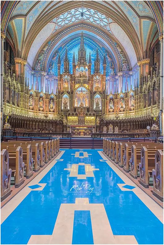 This is Notre Dame Basilica, the largest Catholic church in Montreal. The ext...