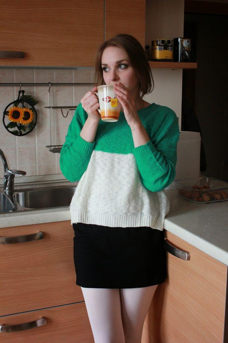 Green White Sweater Black Skirt White Tights White