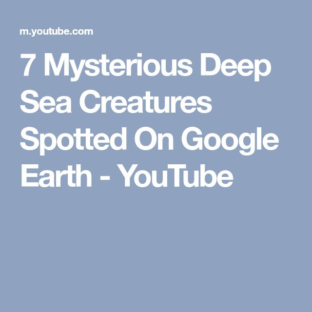 7 Mysterious Deep Sea Creatures Spotted On Google Earth - YouTube