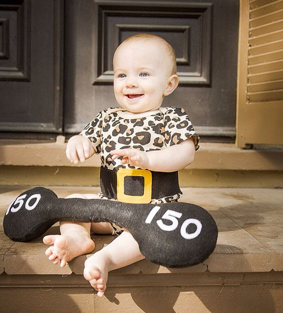Make your little one into a strong man! (Check out that 150 pound weight.)