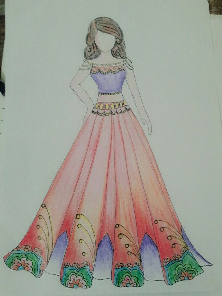 Fashion Designer Fashion Sketch Indian Wear Pencil Colours Fashion Design Drawings Dress Design Sketches Watercolor Night Sky