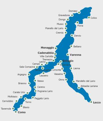 Towns visited by ferry Bellagio, Menaggio, Varenna, Tremezzo, Lenno and Cadennabia  Navigazione Laghi | Como Lake | Garda Lake | Maggiore Lake