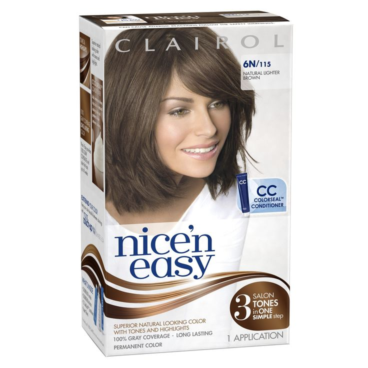 Clairol Nice 'n Easy Hair Color 115, 6N Natural Lighter Brown 1 Kit(Pack of 3). Permanent liquid hair color with Precision Applicator. Lasts up to 8 weeks. 100% gray coverage. Includes ColorSeal Conditioning Gloss to help seal in beautiful color and intense shine. Superior natural looking color with tones and highlights. 3 salon tones in 1 simple step. Nice 'n Easy provides 100% gray coverage and color that lasts up to 8 weeks. Long Lasting. Permanent color.