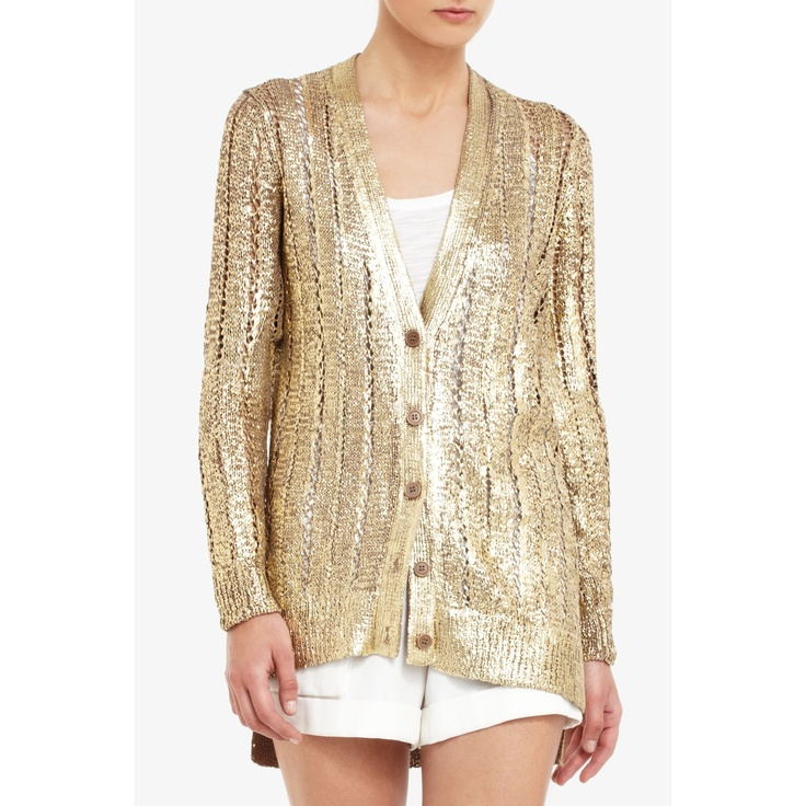 bobbie thomas wore this 4/13 for Min Buzz, BCBG Reyes Foil-Print gold cardigan.. i was obsessed