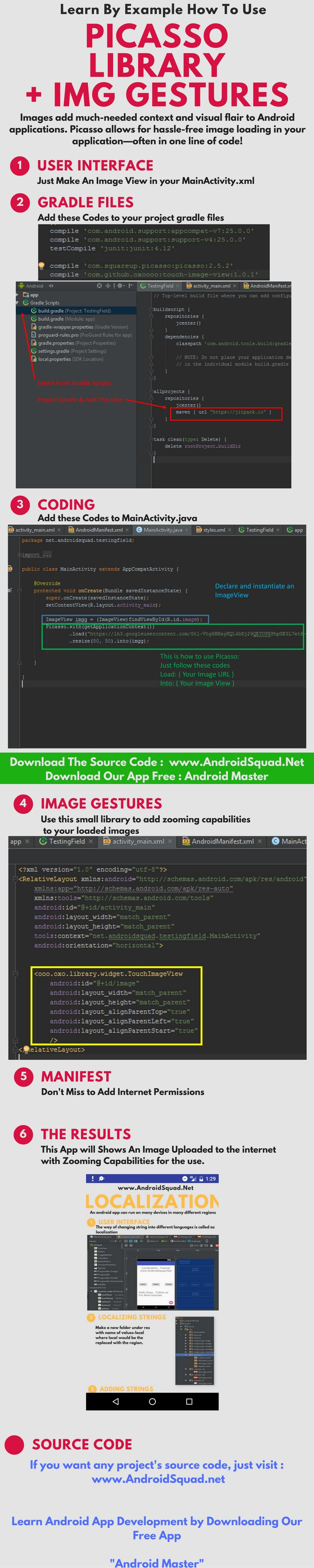 How to use picasso library how to load images using picasso library adding gestures to pictures in android app