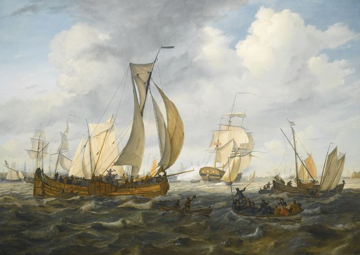 Johannes Hermanus Koekkoek 1778 - 1851 DUTCH SHIPS ON THE IJ, WITH THE WESTERTOREN IN THE DISTANCE signed H.K.KOEKKOEK lower right on the hull of the boat; signed, titled and dated Gesigt op Amsterdam / geschildert Ao 1819 / J.H. Koekkoek /tot / Harlingen on the reverse oil on panel 75.5 by 106cm., 29¾ by 41¾in.: