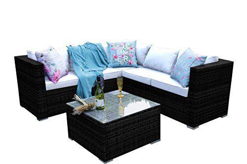 YAKOE Classical Range Rattan Garden Furniture with 5 Seater Corner Sofa Set Patio---300.48---