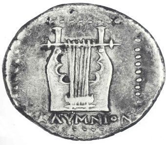 Kalymnos Coins - Silver drachm 3rd c. BC. O. Head of Ares R. Lyre.