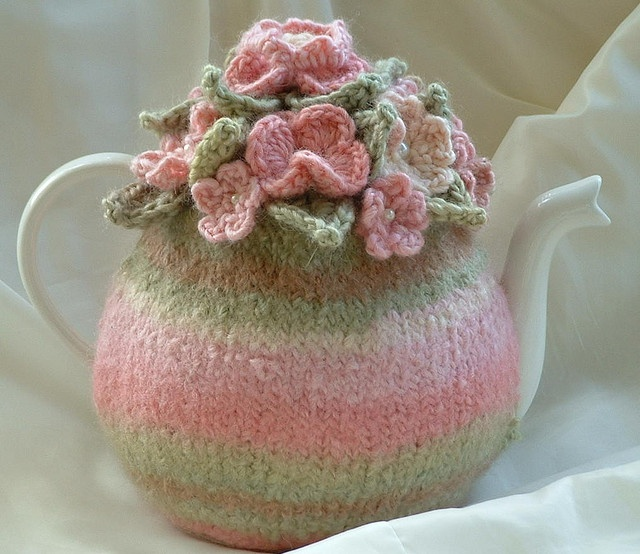 Pretty Pink Rose Hand Knitted Tea Cosy