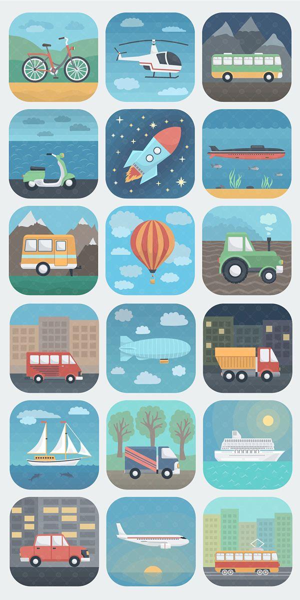 Transport and Travel Icons by Alex Serada, via Behance