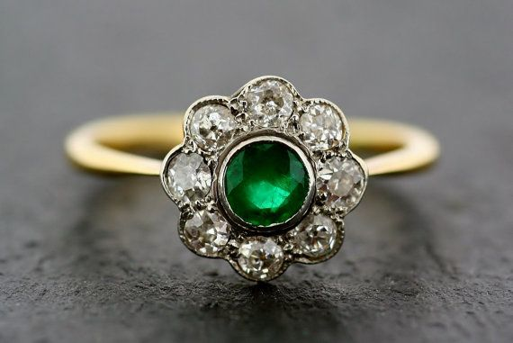 Art Deco Emerald Ring - Antique Emerald & Diamond 18ct Gold and Platinum Cluster Ring