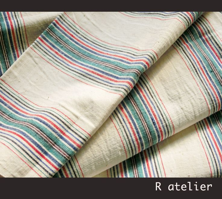 $15/yard | Vintage Chinese Fabric | Handwoven Cotton | Fabric By The Yard | Multicolor Stripe 004 #xmas #tablerunner #vintagefabrics #handwoven #asianfabric #cottonfabric #crafts #fabriccrafts #craftsupply  #craftsupplies